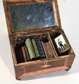 Lot of Miniature Books in a Period Writing Box