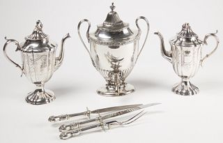 Silver Plate Coffee Pots and Urn