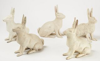 5 Cast Iron Rabbits