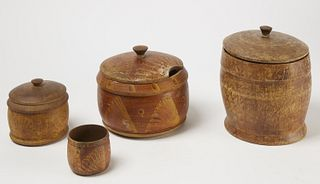 4 Pennsylvania Decorated Treen Boxes