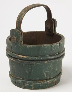 Early Staved Bucket in Green Paint