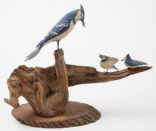 Carved Blue Jay with chicks Plus Singular Carving
