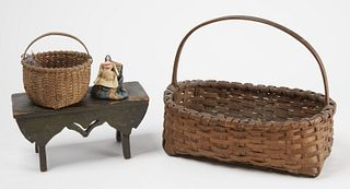 Two Early Baskets, a Painted Footstool and Doll