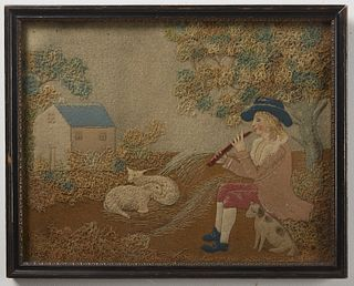 Feltwork Picture of Musician Sheep and Dog