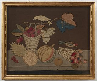 19th Century Folk Art Feltwork Picture