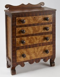 Fine Miniature Paint Decorated Chest of Drawers