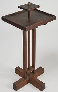 Early Wooden Cross- Base Adjustable Lighting Stand