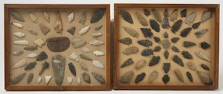 Collection 4 framed Groups of Native Arrowheads