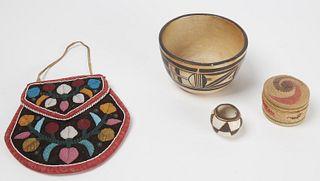 Native Beaded Bag miniature pots-basket
