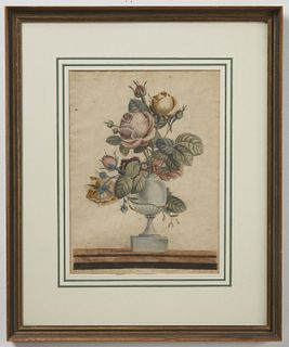 Early Formal Watercolor Still Life dated Dec. 1823