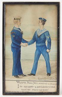 Watercolor of Two British Sailor