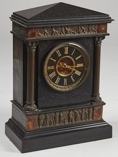 Large Bronze and Marble Tiffany Mantle Clock