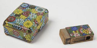 Vintage Cloisonne Cigarette case and Match Holder