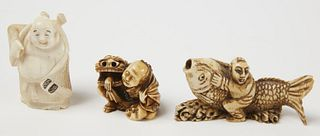 Netsuke & Two Bone Figures