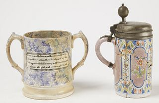 Large Double Handled Tavern Mug & Delft Tankard