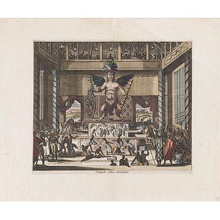Montanus, Arnoldus - Ogilby, John.  Viztlipuztli Idolum Mexicanorum. London, 1671.  Grabado coloreado, 28.7 x 34 cm.