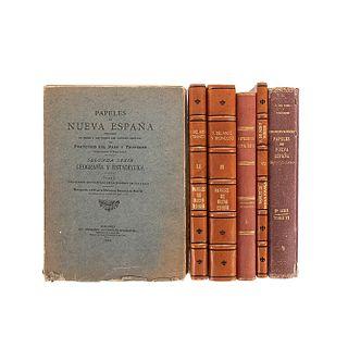 Paso y Troncoso, Francisco del. Papeles de Nueva España. Segunda Serie - Geografía y Estadística. Madrid, 1905-06. Piezas: 6.