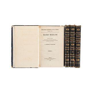 Vetancurt, Agustín de. Teatro Mexicano. Descripción Breve de los Sucesos Ejemplares, Históricos... México, 1870-71. Tomos I-IV. Pzs: 4.