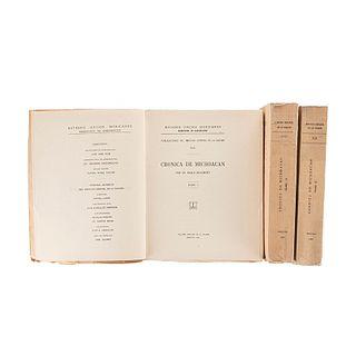 Beaumont, Pablo. Crónica de Michoacán. México: Talleres Gráficos de la Nación, 1932. Tomos I - III. Con láminas a color. Piezas: 3.