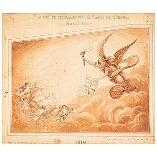 Degert, Gustavo. Projecto de Decoración para el Palacio del Gobierno de Monterrey, ca. 1895. Dibujo en tinta negra y marrón, 27x32 cm.