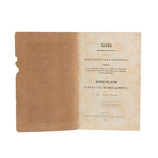 Revuelta Federalista de 1840. Gutiérrez Estrada, J. M. Carta Dirigida al Escmo. Sr. Presidente de la República... México, 1840. 1 lito.