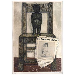 "RAFAEL CAUDURO, Raquel acusada de robar los Terafín de su padre, Signed, Etching, aquatint and embossing 1 / 100, 23.6 x 16.1"" (60 x 41 cm)"
