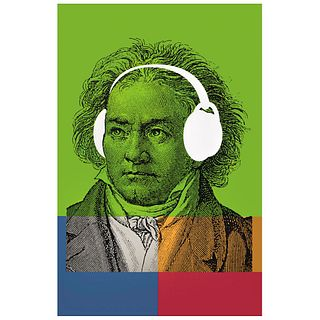 """GERMÁN MONTALVO, Ludwig van Beethoven, Unsigned, Stamp from Wolfryd - Selway Projects, Serigraphy without print number, 33.8 x 22"""" (86 x 56 cm)"""