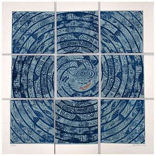 """DAVID KUMETZ, Lluvia, Signed and dated 20, Woodcuts 3 / 15, Polyptych, 16.9 x 16.9"""" (43 x 43 cm), Pieces: 9"""