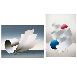 """KURT LARISCH, Untitled, Signed, Serigraphies 187 / 200 and 43 / 250, 12.9 x 16.9"""" (33 x 43 cm) and 15.3 x 11"""" (39 x 28 cm), Pieces: 2"""