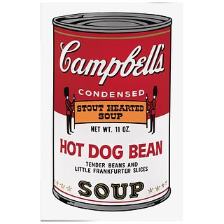 """ANDY WARHOL, II. 59 : Campbell's II Hot Dog Bean Soup, Stamp on back, Serigraphy without print number, 31.8 x 18.8"""" (81 x 48 cm)"""
