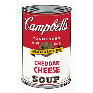 """ANDY WARHOL, II. 63 : Campbell's Cheddar Cheese Soup, Stamp on back, Serigraphy without print number, 31.8 x 18.8"""" (81 x 48 cm)"""