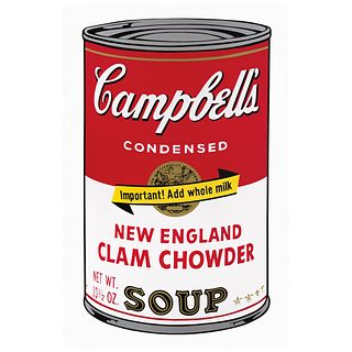 """ANDY WARHOL, II. 57 : Campbell's Soup II New England Clam Chowder Soup, Stamp on back, Serigraphy without print number, 31.8 x 18.8"""" (81 x 48 cm)"""