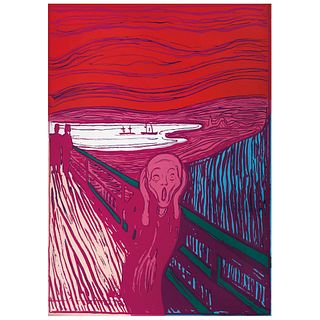 """ANDY WARHOL, IIIA.58 (c): The scream (After Munch), Stamp on back, Serigraphy of the 1500 edition, 35.4 x 25.1"""" (90 x 64 cm)"""