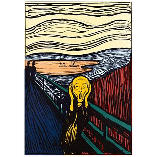 """ANDY WARHOL, IIIA.58 (e): The scream (After Munch), Stamp on back, Serigraphy 117 / 1500, 35.4 x 25.1"""" (90 x 64 cm), Certificate"""