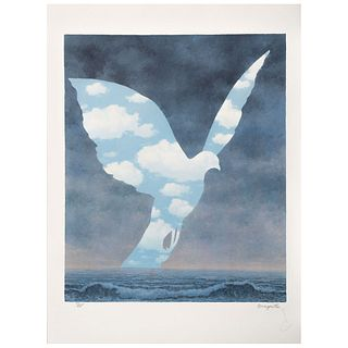 """RENÉ MAGRITTE, La grande famille, Signed with stamp, Lithograph 53/275, Posthumous edition, 18.3 x 14.9"""" (46.5 x 38 cm)"""