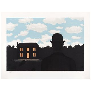 "RENÉ MAGRITTE, L'Empire des Lumières, Signed with stamp, Lithograph 53/275, Posthumous edition, 14 x 20.4"" (35.6 x 52 cm)"