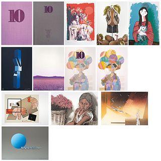 """Various artists, Carpeta 10 artistas en la ciudad, Signed, Serigraphies 54 / 150, 14.9 x 10.6"""" (38 x 27 cm) each, Pieces: 10"""