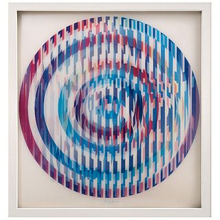 """YAACOV AGAM, Invisible Rainbow, Signed, Agamograph 63 / 99, 13.7"""" (35 cm) in diameter"""