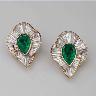 Emerald & Diamond Earrings by Harry Winston