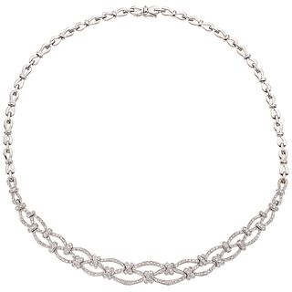 "CHOKER WITH DIAMONDS IN 18K WHITE GOLD, Box clasp with 8-shaped safety, Weight: 55.5 g, Length: 15.7"" (40.0 cm)"