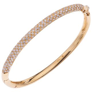 BRACELET WITH DIAMONDS IN 18K YELLOW GOLD, Rigid, Box clasp with 8-shaped safety, Weight: 22.6 g.