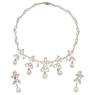 SET OF CHOKER AND PAIR OF EARRINGS WITH W/CULTIVATED PEARLS AND DIAMONDS IN WHITE AND YELLOW 18K GOLD