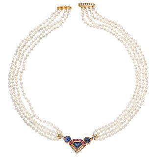 CHOKER WITH CULTIVATED PEARLS, RUBIES, SAPPHIRES, DIAMONDS IN 18K YELLOW GOLD
