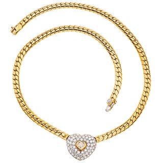 CHOKER WITH DIAMONDS IN 18K YELLOW GOLD, Box clasp with 8-shaped safety, Weight: 32.3 g