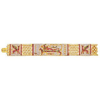 BRACELET WITH RUBIES, SAPPHIRES, EMERALDS & DIAMONDS IN 18K YELLOW GOLD, Box clasp with pressure safety, Weight: 69