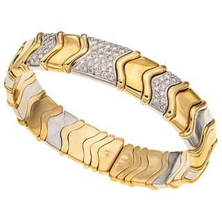 """BRACELET WITH DIAMONDS IN WHITE AND YELLOW 18K GOLD, Weight: 64.0 g, Size: 2.2 x 1.8"""" (5.7 x 4.7 cm)"""