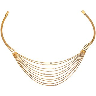 CHOKER WITH DIAMONDS IN 18K YELLOW GOLD, Box clasp with pressure safety. Weight: 42.2 g.