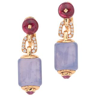 PAIR OF EARRINGS WITH RUBELITES, CHALCEDONIES, TOURMALINE AND DIAMONDS IN 18K YELLOW GOLD FROM THE BVLGARI FIRM