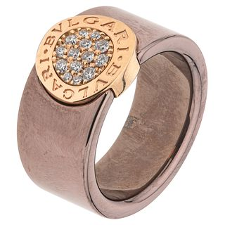 RING WITH DIAMONDS IN CERAMIC AND 18K ROSE GOLD FROM THE BVLGARI FIRM, BVLGARI BVLGARI COLLECTION, Weight: 8.0 g. Size: 6