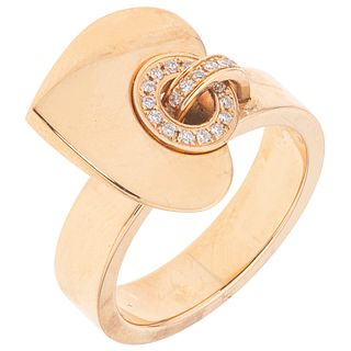 RING WITH DIAMONDS IN 18K ROSE GOLD FROM THE BVLGARI FIRM, BVLGARI BVLGARI CUORE COLLECTION Weight: 9.4 g. Size: 6